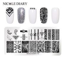 Nicole Dagboek Slangenhuid Nail Stempelen Platen Bloem Oceaan Woord Nail Template Stempel Nail Art Stamp Image Template Nail Art