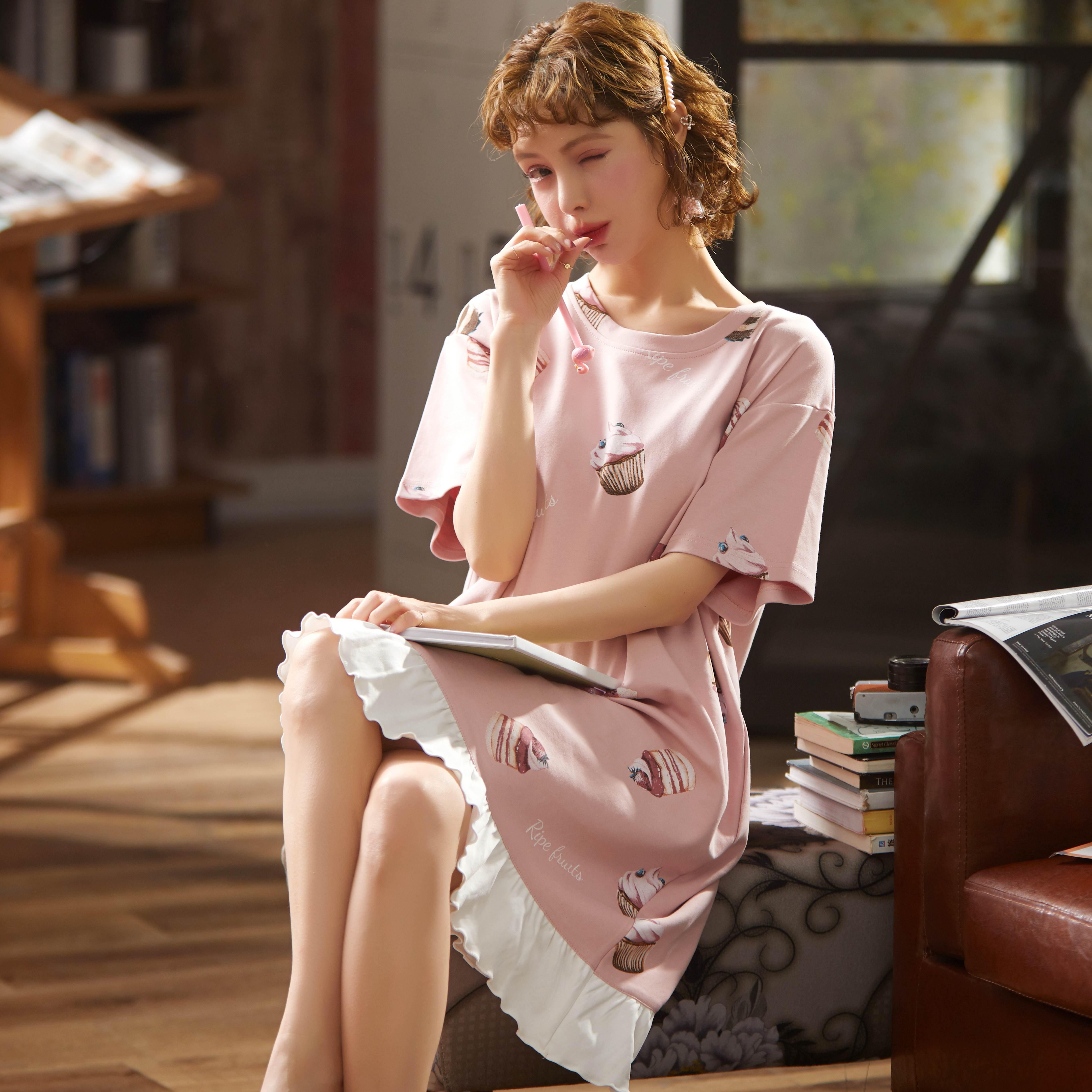 100% Cotton Women Sleepshirts Nightgowns Cartoon Night Dress Fashion Girls Nighty Sleepwear Ladies Nightwear Summer Homewear 2