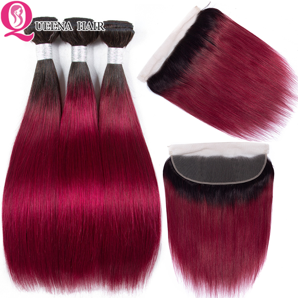 Ombre Straight Hair Bundles With Frontal 1B Burgundy Remy Malaysian Human Hair 13x4 Lace Frontal Closure With Bundles Deals Hair