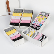 5 pairs of boxed autumn and winter new ladies socks in the tube wild stripes love candy color