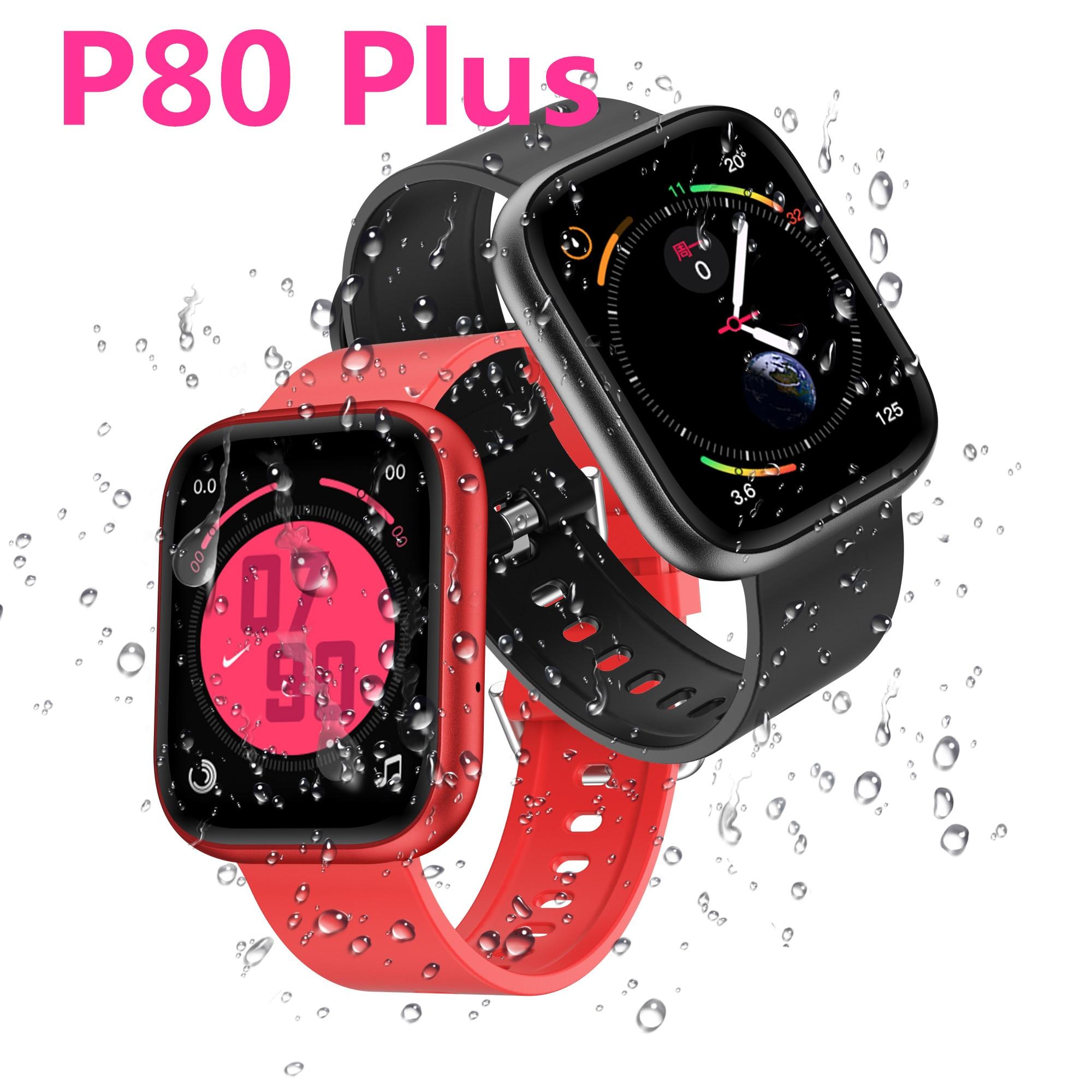 P80 плюс 1,75 дюймов Смарт-часы, женские, мужские, спортивные модные IP68 Водонепроницаемый