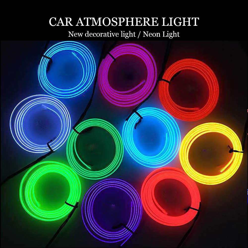 3 м атмосферное Освещение Автомобиля 12 в холодный светодиодный свет полосы внутреннего света Интерьер Гибкая неоновая электрическая проволока украшение из каната светящиеся провода