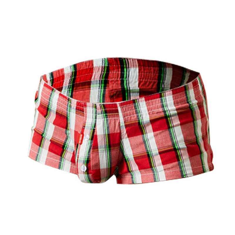 Classique Sexy Plaid hommes Boxer Shorts hommes sous-vêtements U convexe poche culottes caleçons boxeurs pour Homme Homme culottes sous-vêtements hommes