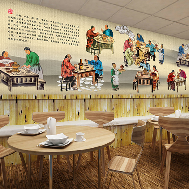 Chinese Style Traditional Retro Nostalgic 3D Hand-Painted Gourmet Mural Hotpot Restaurant Noodle Restaurant Characteristics Hote