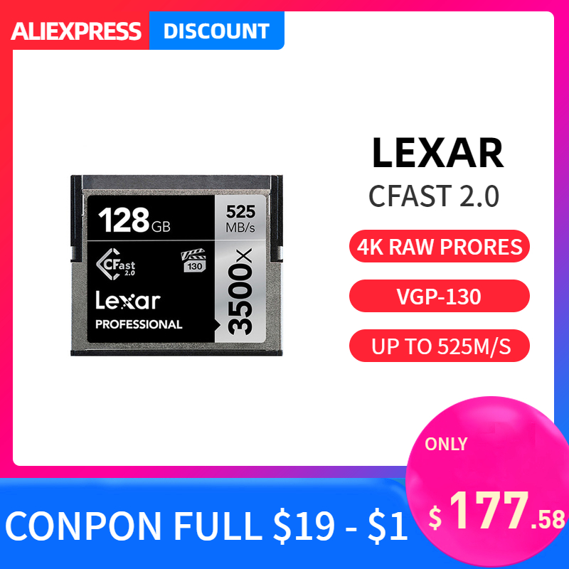 Original Lexar 3500X CF Card 64gb 128gb 256gb 512gb CFast 2.0 Prfessional Camer Memory Card 3D 4K Video High Speed Up To 525M/S