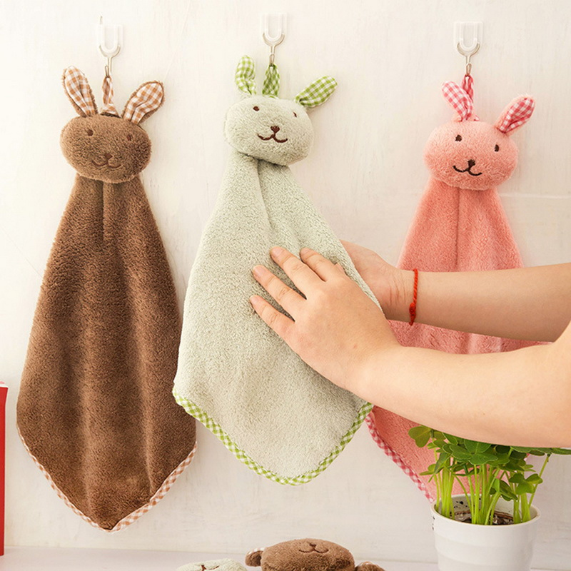 1PC Cute Velvet Hand Towels Absorbent Lint-Free Cloth Kitchen Towel Easy Clean Rabbit Kitchen Bathroom Hanging Towel Coral New