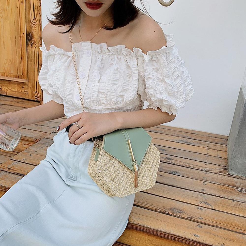 Hexagon Style Straw Bucket Bag for Women 2021