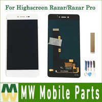 Original Quality For Highscreen Razar / Razar Pro LCD Display Touch Screen Assembly White Color With Tools Tape