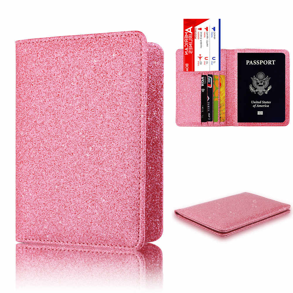 Travel Shiny Universal PU Leather Passport Holder Card Case Protector Cover new