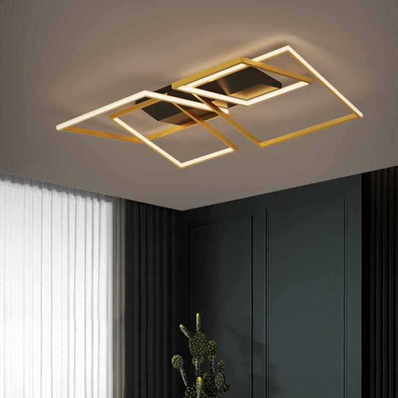 Novo led lustre retângulo lâmpada do painel de ouro para o quarto sala estar cozinha com controle remoto moderna luz teto decoração