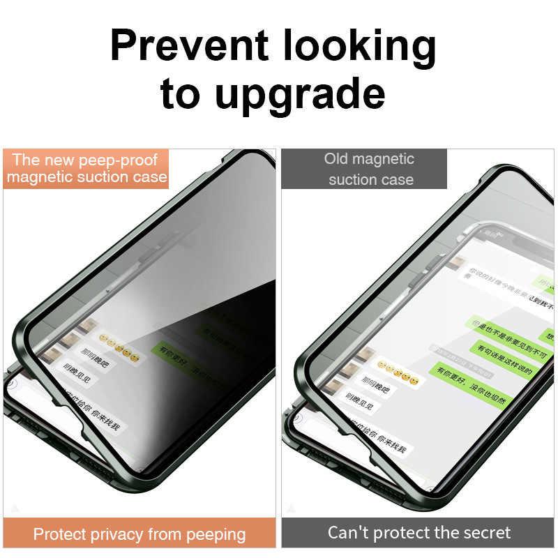 แม่เหล็กกระจกนิรภัยความเป็นส่วนตัวโลหะโทรศัพท์ Coque 360 สำหรับ IPhone SE 2020 11 PRO MAX 8 7 6 XR XS X แม่เหล็ก Antispy ฝาครอบ