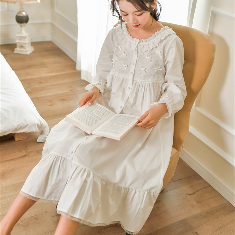Spring Autumn White Soft Cotton Women's Long Nightgowns Long Sleeve Sleepwear Vintage Girls Loose Night Shirt Home Wear