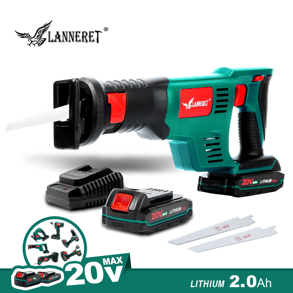 LANNERET Cordless Reciprocating Saw 20V Electric Saw 2.0Ah Li-ion Battery 22mm Stroke with Saw Blades Sawing Cutting Tool