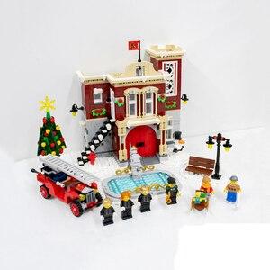 1306 шт lepinblocks 36014 серия создатель зимняя деревня пожарная станция игрушки для детей рождественские подарки