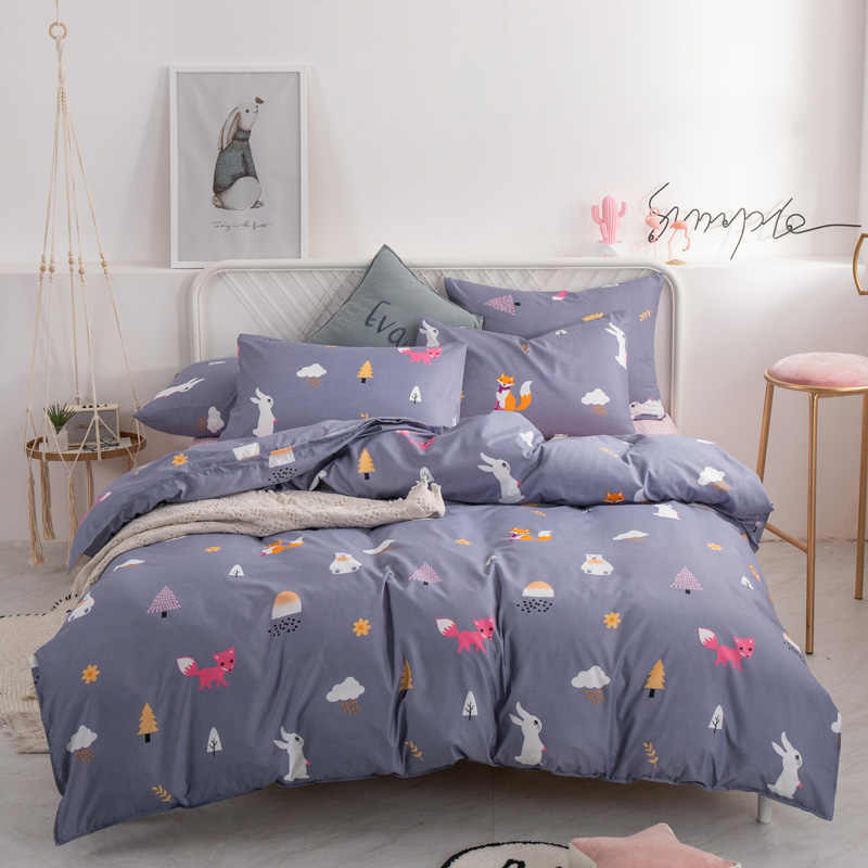YAXINLAN fashion bedding set Pure cotton A/B double-sided pattern  Simplicity Bed sheet, quilt cover pillowcase 4-7pcs