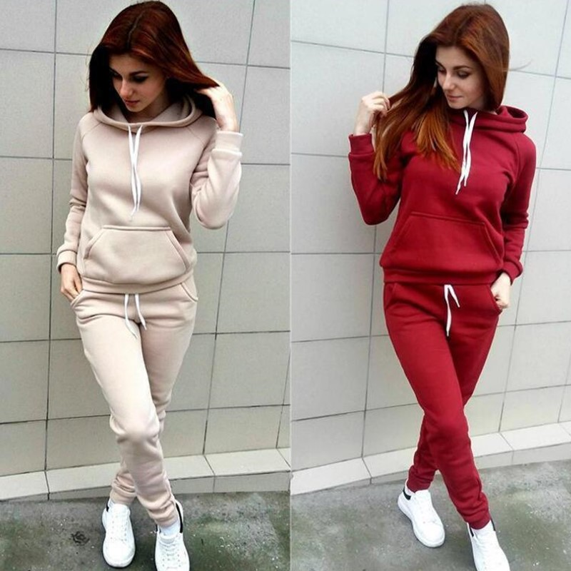 Sport Suit Women Autumn Winter Tracksuits Wine Pullover Top Shirts Running Set Jogging Suits Sweat Pants 2pcs Sportswear