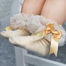 Носки для малышей; Новинка; носки принцессы с бантом для маленьких девочек; носки с кружевными оборками и оборками; короткие носки для малышей