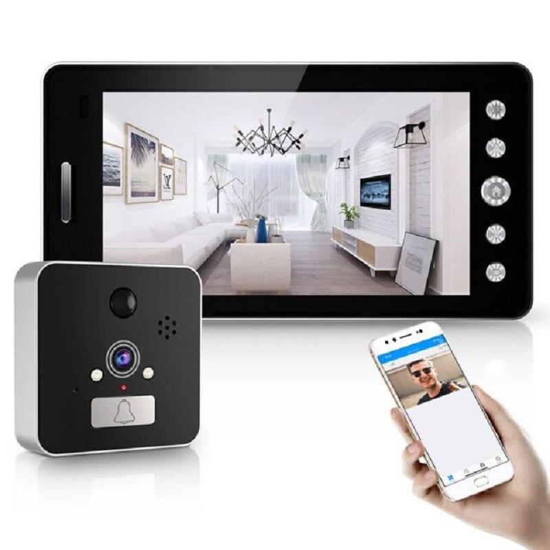 Saful 5 ''Wifi porte judas visionneuse porte caméra 120 degrés avec détection de mouvement Vision nocturne sonnette de maison intelligente