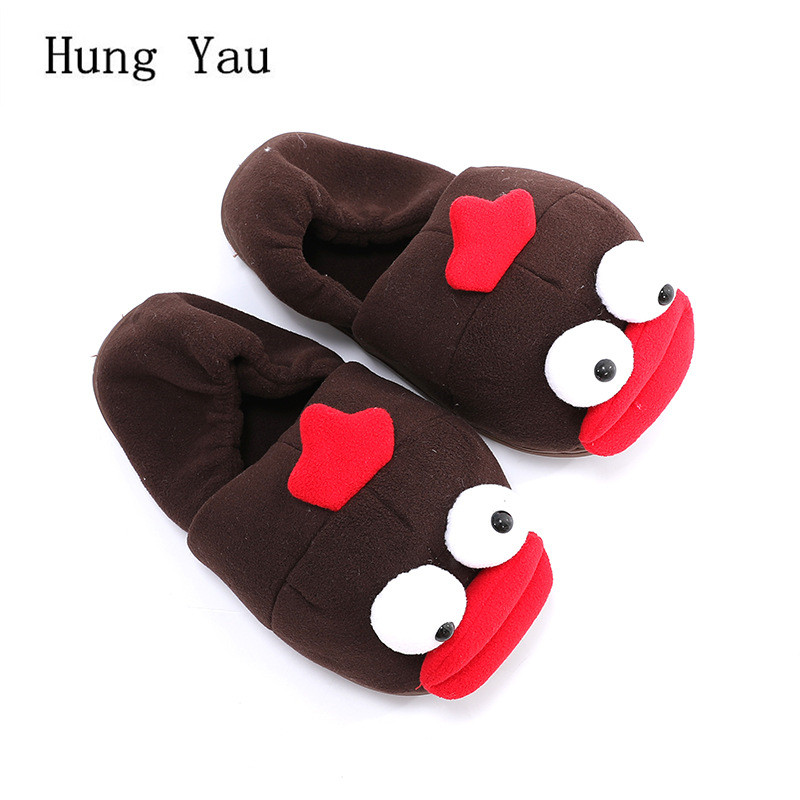 Men Slippers Winter Warm Shoes Cartoon Cute Fashion Platform Male Slides Non-slip Flat Indoor Home Comfortable Flips Flops