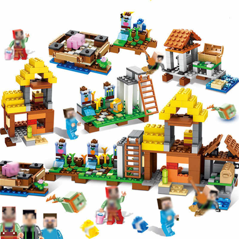 New 4 In 1 My World Minecrafted Village DIY Model Building Blocks Kit Toys Children Education Assemble Bricks Gifts legoings