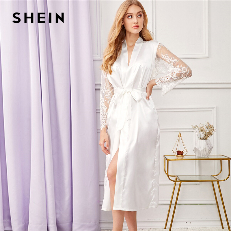 SHEIN White Floral Lace Sleeve Satin Belted Long Robe Without Lingerie Women Autumn Solid Casual Sleepwear Ladies Robes