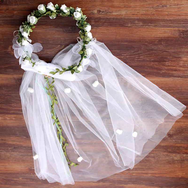 Flower Wreath Bridal Veil Garland Wedding Hairband Headbands Hair Accessories For Engagement Anniversary Wedding