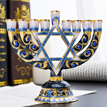 H&D 9 Branch Magen David Menorah Hand painted Candle Holder Collection for Hanukkah Shabbat Christmas Ceremony Home Decor Gift