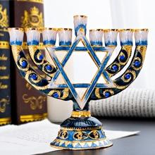 H & d 9 ramo magen david menorah pintados à mão castiçal coleção para hanukkah shabbat cerimônia de natal decoração de casa presente