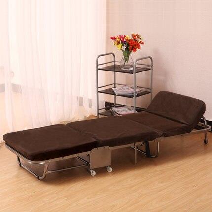 Односпальная кровать для обеда, Офисная трехслойная губчатая складная кровать, простая кровать для отдыха - Цвет: coffee