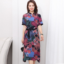 2020 summer women dresses casual style short sleeve vestido vintage print dress cotton robe