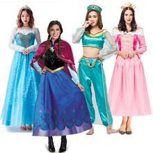 Adult Size Princess Party Elsa Anna Costume Halloween Mermaid Disguise Outfit Woman Halloween Cosplay Sleeping Beauty Ball Gown