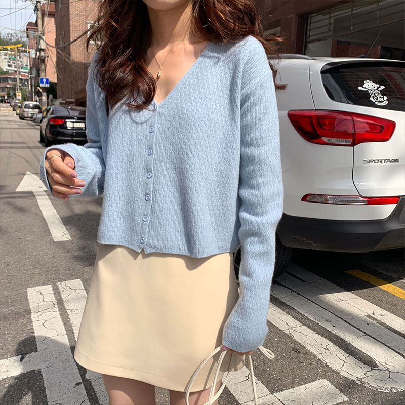 5 Colors Knitted Sweater Coat Long Sleeve Casual V-Neck Korean Ins Style Short Cardigans Womens (X1087)