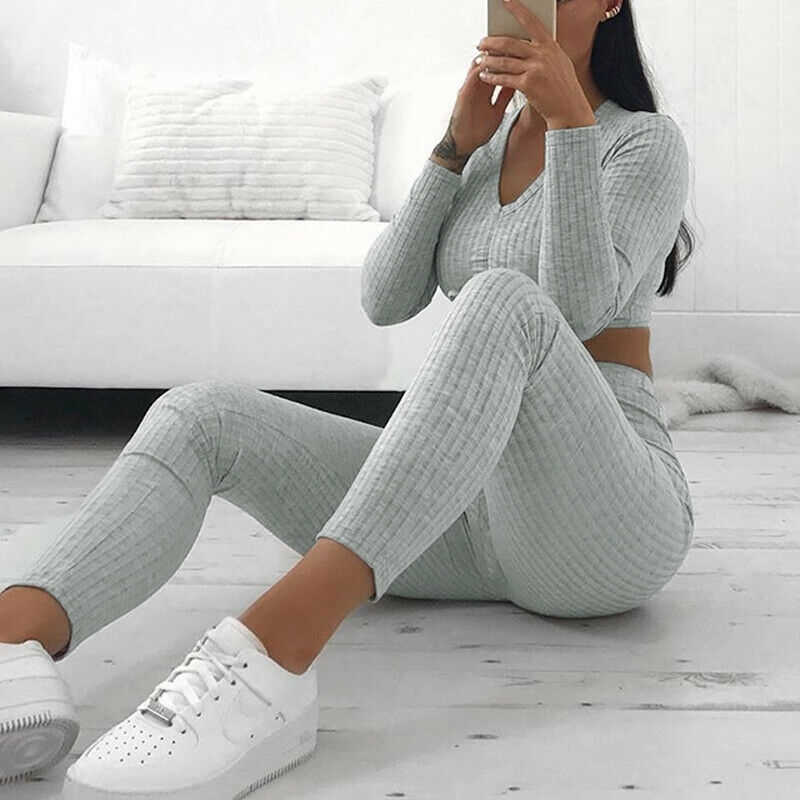 Women Autumn Knitted 2pcs Tracksuits 2019 New Lady Long Sleeve Crop Top+Pencil Pants Knitwear Two Pieces Sets Leisure Suits Hot