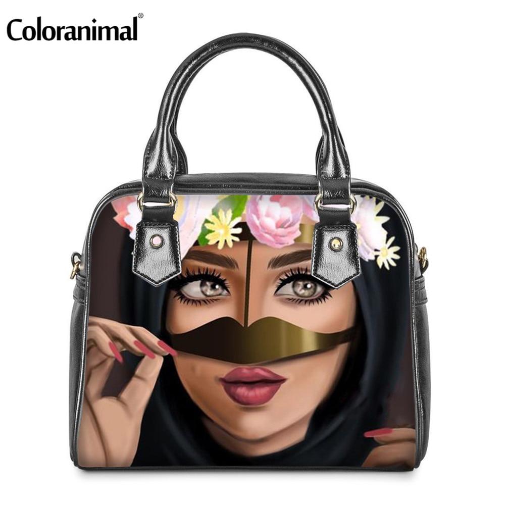 Coloranimal Tote Women Leather Shoulder Handbags Sexy Islamic Beauty Girl Print Casual Female Clutch Crossbody Bags sac main