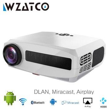 Wzatco c3 novo projetor led android 10.0 wi fi completo hd 1080p 300 polegada grande tela proyector 3d cinema em casa inteligente vídeo beamer