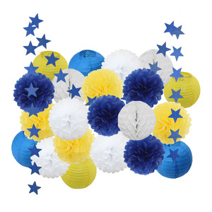 Image 4 - Bambino Doccia Ragazza Decorazione 22 pz/set Rosa Beige Blu Set Rotonda Lanterna di Carta Per Bambini Battesimo Favore di Partito Appeso Mestieri di Carta