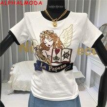 ALPHALMODA 2020 Summer Embroidery Fashion Tshirt European Styles Ladies Trendy T