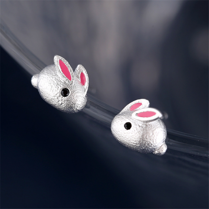2020 Women's Earring Cute Small Animal Pink Rabbit Studs Tibetan Silver Bunny Studs Orecchini Brincos Kids Girls Christmas Gifts