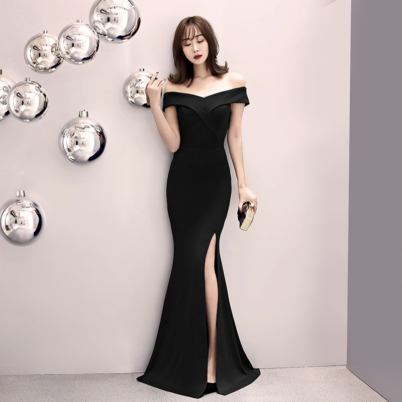 Black Off The Shoulder Evening Dress 2020 Sexy Elegant Host Annual Conference Slim Fit Split Fishtail Dress Formal Mermaid Gown