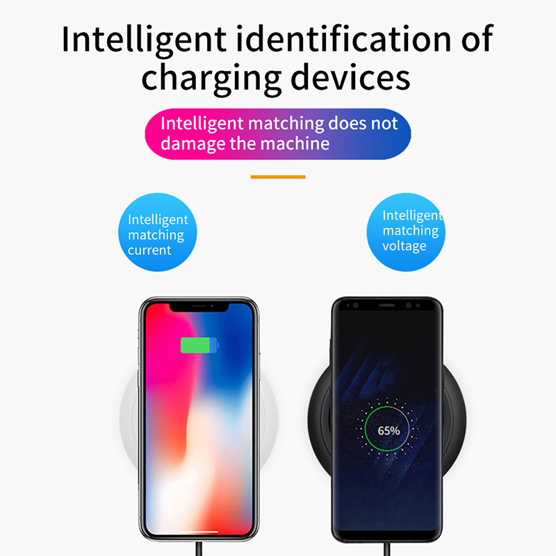 Wireless QI Fast Phone Charging Pad Charger Charging Wireless Induction Table Desktop Super Thin 7mm Thickness Charger with LED 5