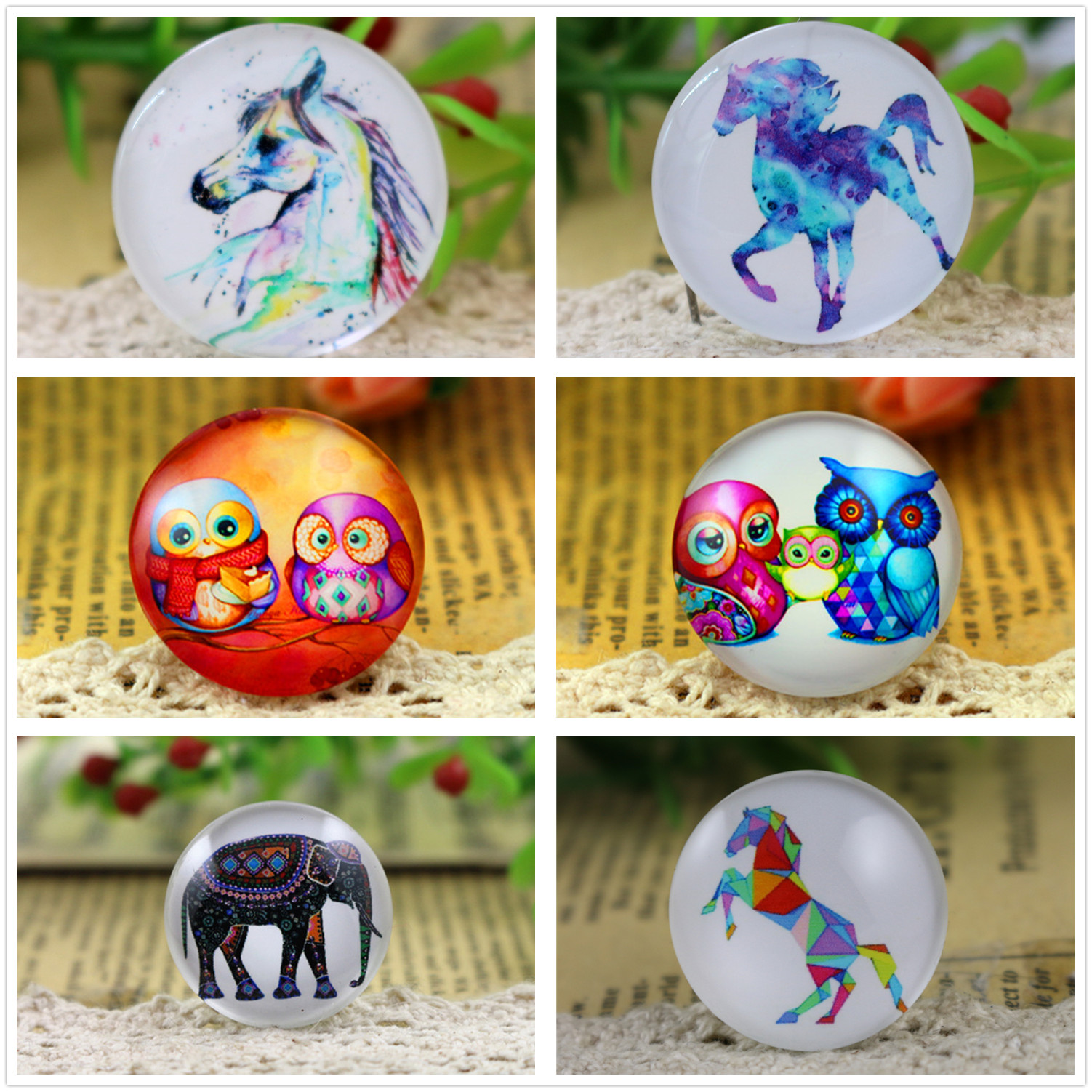 Hot Sale 5pcs/Lot 25mm Handmade Elephant And Horse And Owl Photo Glass Cabochons Pattern Domed Jewelry Accessories Supplies