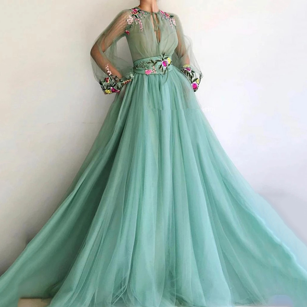 Eightree Evening Dresses 2020 A-line Long Puff Sleeves Tulle Embroidery Prom Dress Dubai Saudi Arabia Formal Evening Party Gown