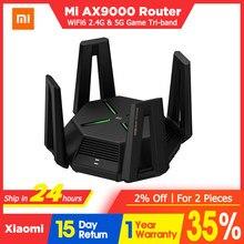 Novo xiaomi ax9000 roteador aiot tri-canais wifi6 1gb ram 4k qam 2.4g & 5.0ghz 12 antenas gigabit de alto ganho malha e-sport roteador