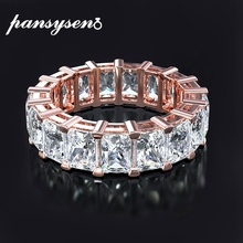 PANSYSEN Rose Gold Color Classic AAA Cubic Zirconia Rings for Women Fashion Luxury Circle Finger Ring wholesale fine jewelry luxury large pink opal finger rings rose gold color fashion brand cubic zirconia punk jewellery jewelry for women dfr086