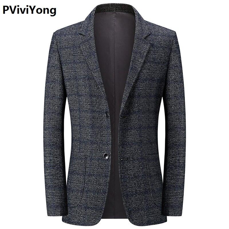 PViviYong 2019 New Middle-aged Men High Quality Slim Lattice Blazer Jacket Two Button Lapel Casual Long Sleeve Blazer 1927