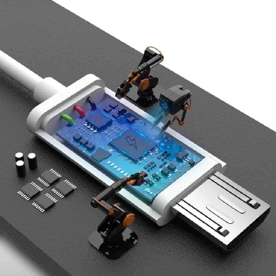 المصغّر usb كابل شحن 2A لسامسونج غالاكسي S7 S6 حافة J7 J5 J3 2017 2016 سلك Microusb سريع تهمة بيانات