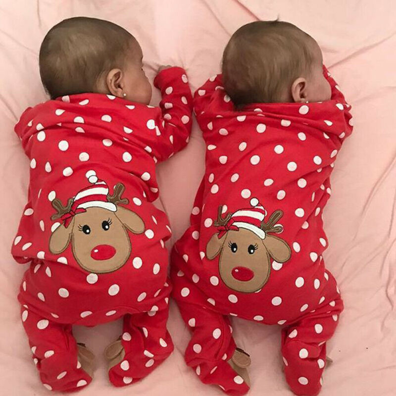 0-18M My First Christmas Baby Boy Girl Rompers Newborn Infant Baby Cartoon Deer Red Jumpsuit Playsuit Xmas Baby Costumes