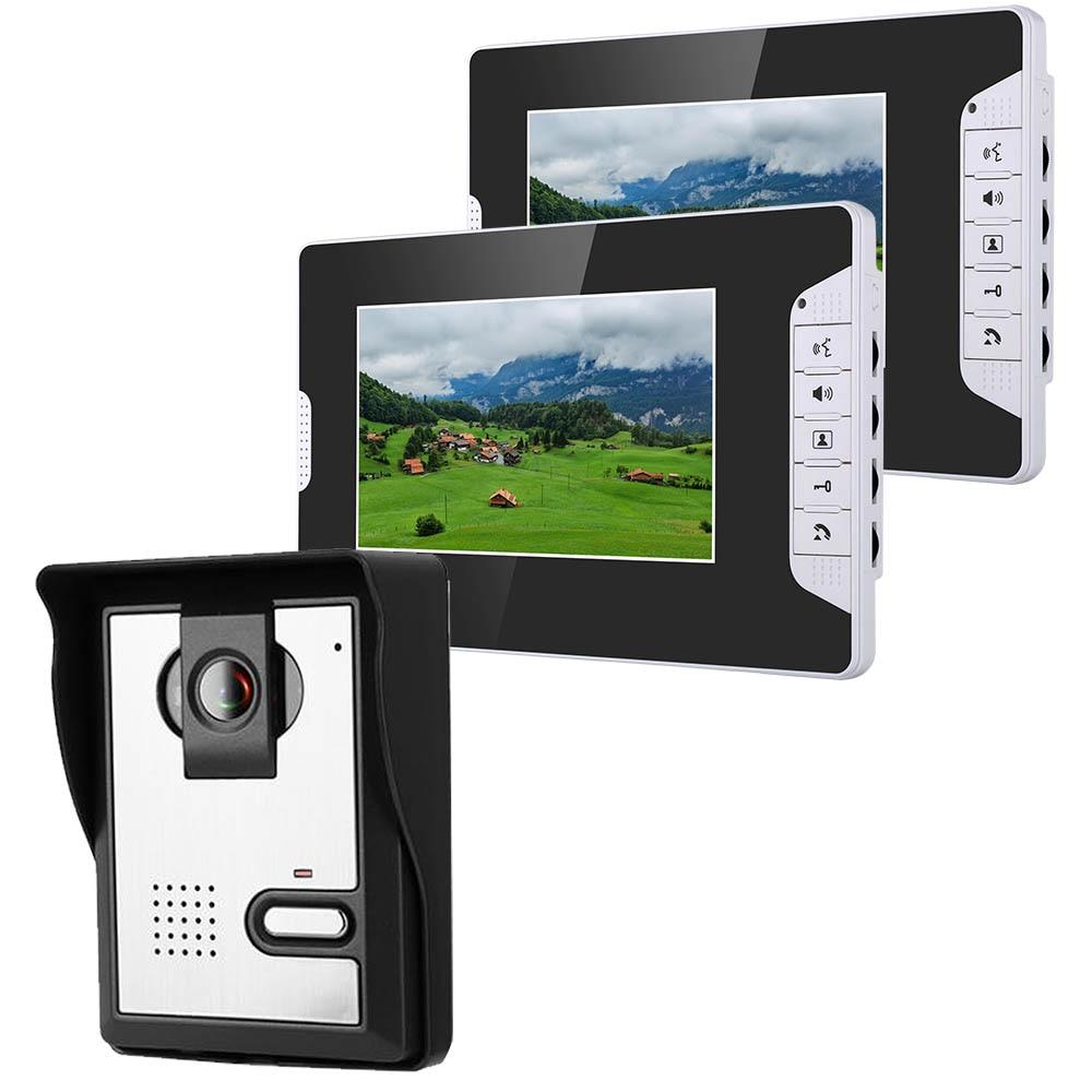 7 Inch Video Door Phone Doorbell Intercom Kit 1-camera 2-monitor Night Vision With 700TVL Camera