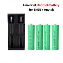 Campainha 18650 bateria 2600mah interfone bateria com carregador duplo para eken wifi campainha da porta anytek doobell para e-cigarro bateria