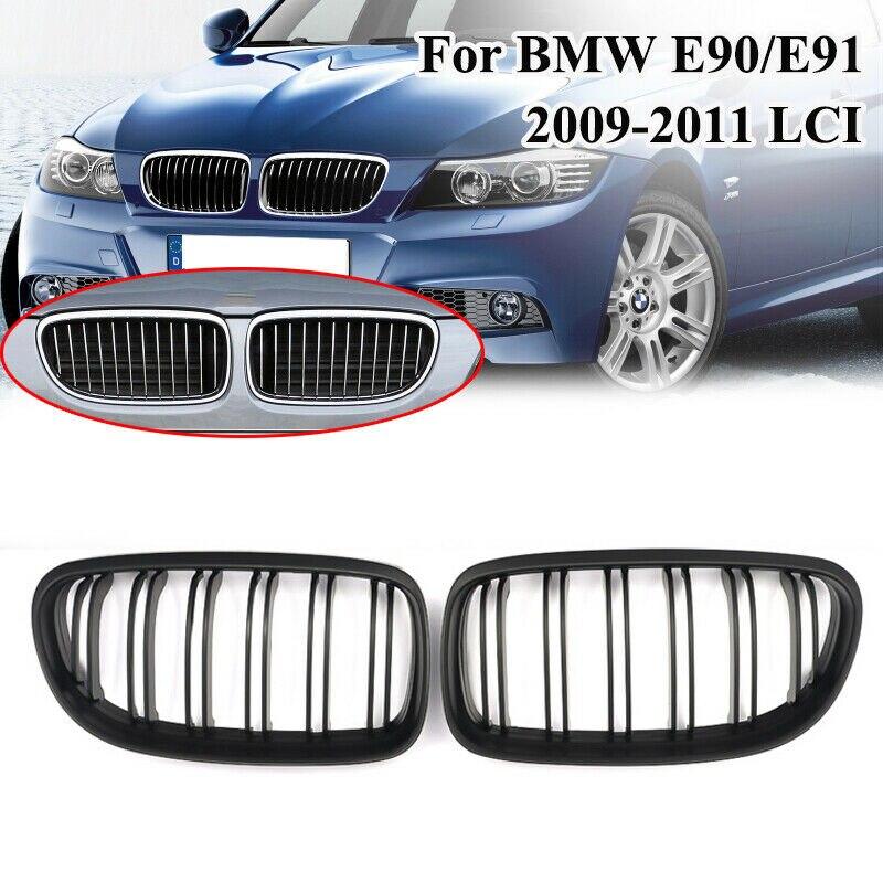 Bmw e90 lci 3 시리즈 세단/왜건 2009 2010 2011 자동차 프론트 그릴 매트 블랙 레이싱 그릴 교체 그릴 신장 후드